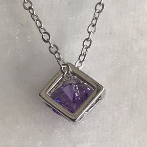 PURPLE DIAMOND CUT CRYSTAL IN BOX 925 CHAIN 20.75""